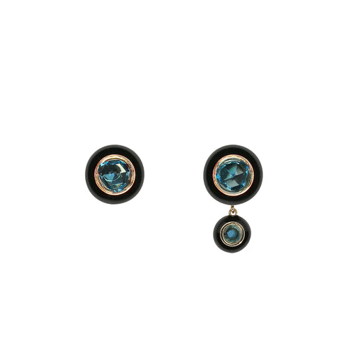 Yellow Gold Hidden Disk Earrings with  Black Enamel and Tourmaline