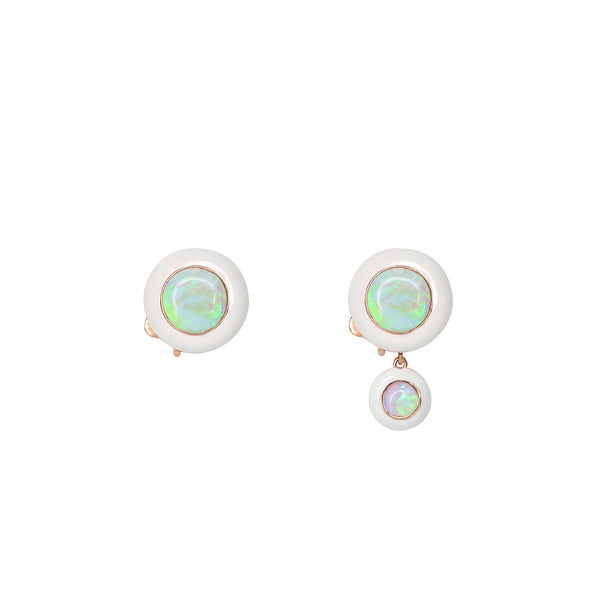 Rose Gold Hidden Gem Earrings with White Enamel and Opal