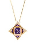 Yellow Gold Shield with Purple Enamel and Diamonds