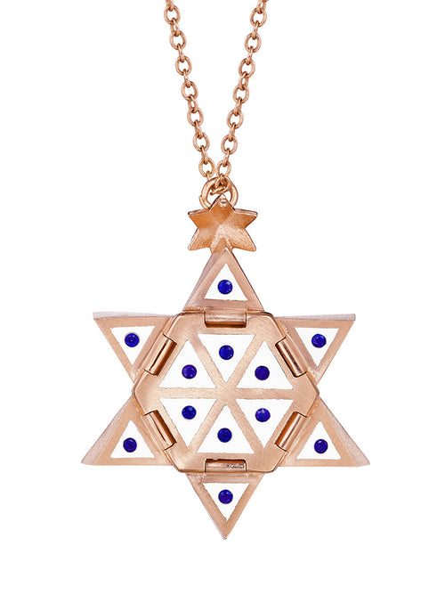 Rose Gold Star of Creation with White Enamel and Blue Sapphires