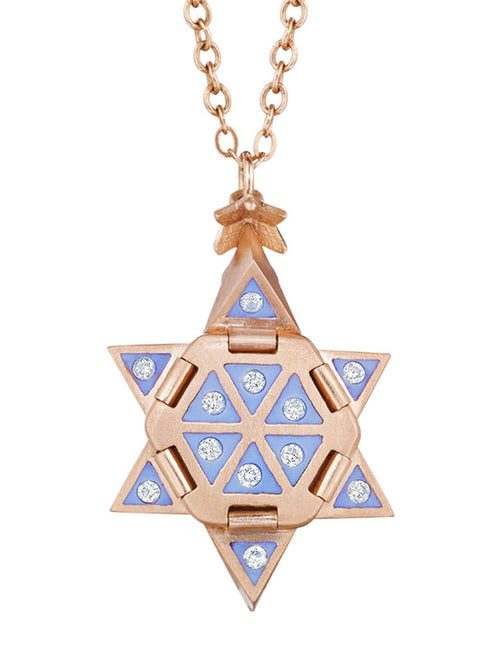 Rose Gold Star of Creation with Light Blue Enamel and Diamonds