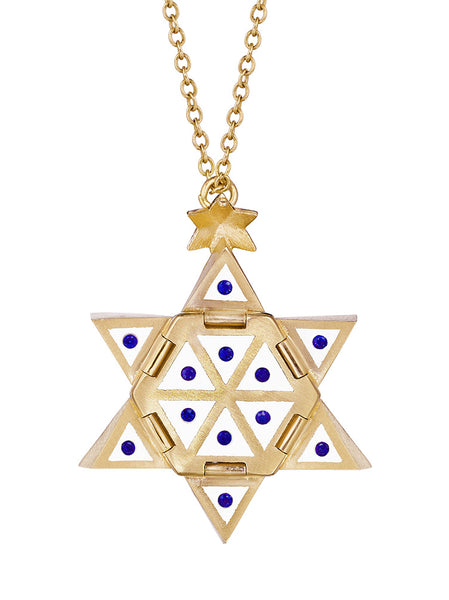 Yellow Gold Star of Creation with White Ceramic and Blue Sapphires