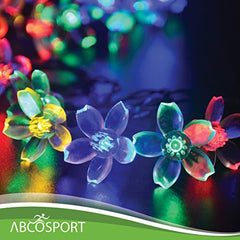 Solar LED Flower String Lights -21ft Long, 50 LED Bulbs - For Parties & Holiday Decorations