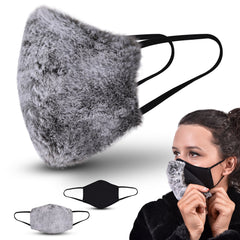 Abco Tech Mulberry Silk Face Mask for Women with Detachable Faux Fur Snap 2-In-1