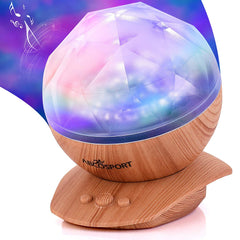 Soothing Aurora Borealis LED Night Light Projector Wood Furniture Look