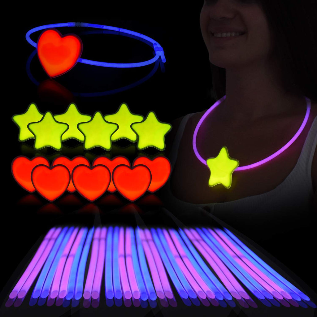 Glow Sticks Necklace & Head-ring Set – Pack of 36 Sticks, 6 Hearts & 6 Stars W/Connectors