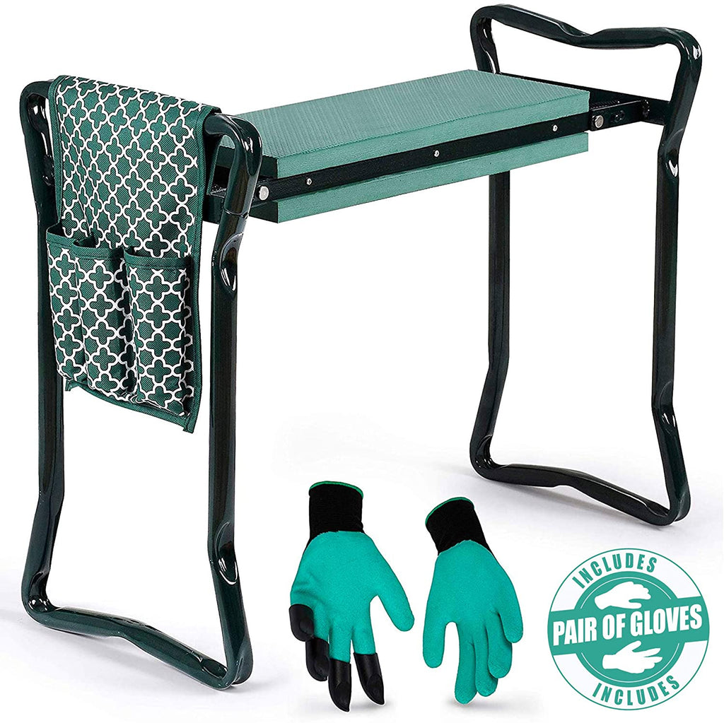 Garden Kneeler And Seat - Protects Your Knees, Clothes From Dirt & Grass Stains - Foldable Stool For Ease Of Storage - Bench Comes With A Free Tool Pouch!
