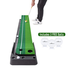 Indoor Golf Putting Green Portable Practice Mat Auto Ball Return 9.85'