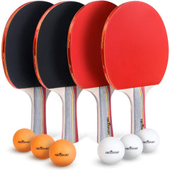 Table Tennis Ping Pong Set - Pack of 4 Premium Paddles/Rackets and 6 Table Tennis Balls - Ideal for Professional & Recreational Games - 2 or 4 Players
