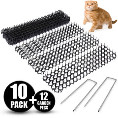 Cat Scat Spike Mat (10 Strips) – Gently Deters Pet - Non-Toxic Pet Repellent Mat – Includes 12 Garden Staples