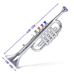 Metallic Silver Kids Trumpet – Horn Wind Instrument with 4 Colored Keys