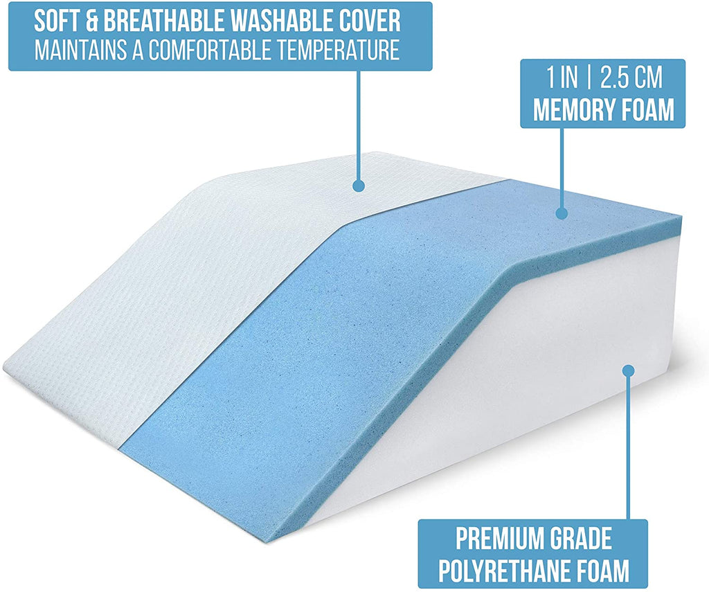 Abco Tech Leg Elevation Pillow with Cooling Gel Memory Foam Top 8in Wedge, Cover
