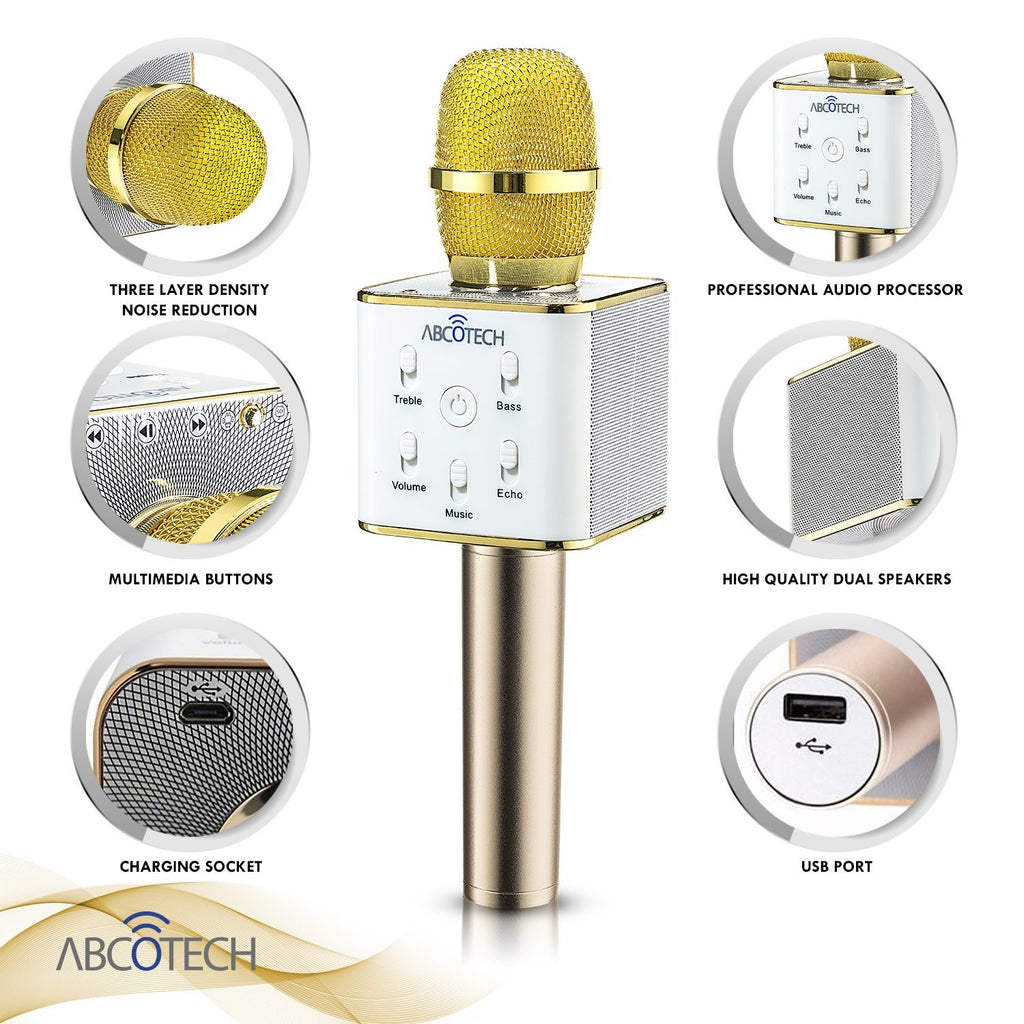 AbcoTech Wireless Karaoke Microphone & Speaker 3-in-1 Gold