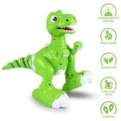 Remote Control RC Robot Dinosaur Toy Smart Sensing Spraying Sing Dance