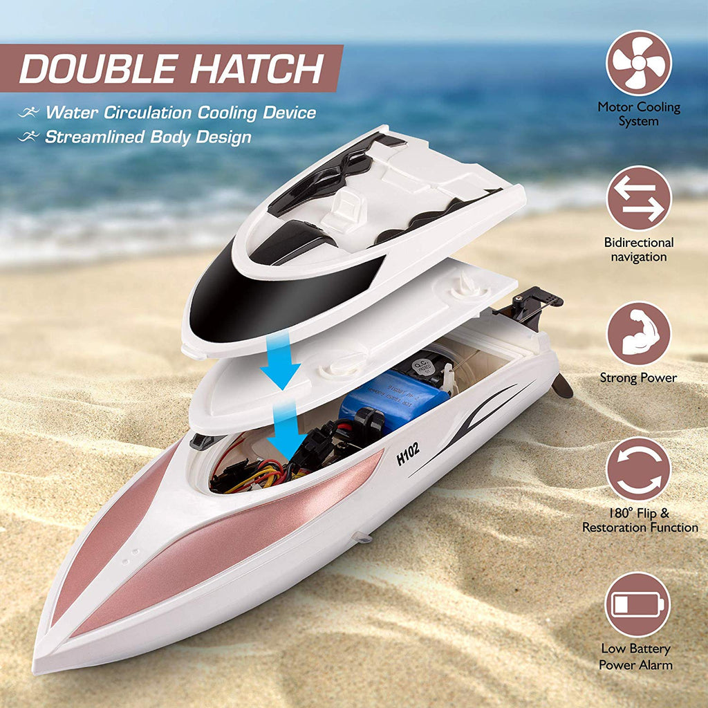 Remote Control RC Boat for Kids Adults 20+ MPH Speed 4 Channel Racing