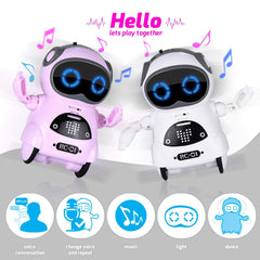 Interactive Mini Robot Toy – Voice Recognition, Playback Entertainment Mode, Flexible arms
