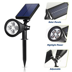 Solar LED Landscape Spotlights with 200 Lumens Bright White Lights - Can Also Be Mount On The Wall