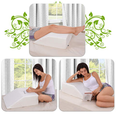 Abco Tech Leg Elevation Pillow with Memory Foam Top Leg Rest 8 Inch Height Wedge