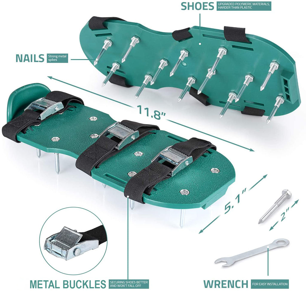 Lawn Aerator Spike Shoes - Comes with 3 Adjustable Straps with Metallic Buckles