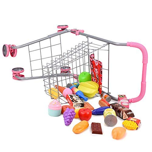 Pretend Play Children's Toy Shopping Cart – Ideal Grocery Cart Trolley for Toddlers