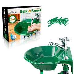 Outdoor Sink and Faucet Fixture - With Built-in Drinking Water Fountain