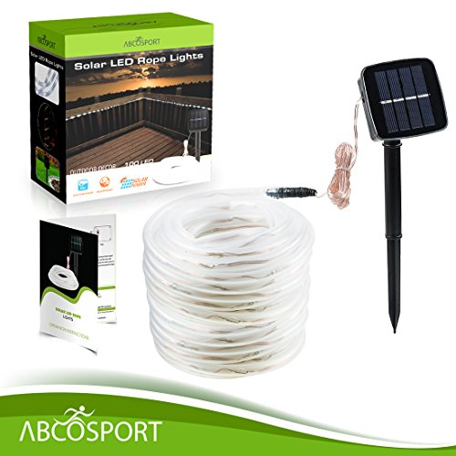 Solar LED Rope Lights – 40ft Long, 100 LED Bulbs, Daylight White - Includes Hooks and Screws