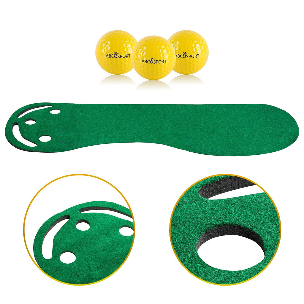 Golf Putting Green Grassroots Mat - 9ft by 3ft – Includes Free 3 Yellow Golf Balls