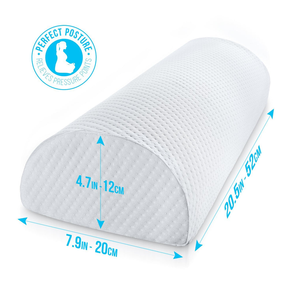 Half Moon Pillow Bolster - Pain Relief Memory Foam Cushion with Washable Cotton Cover