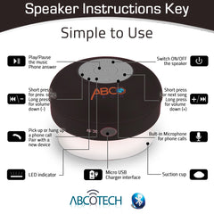 Abco Bluetooth Water Resistant Shower Speaker w/ Suction Cup
