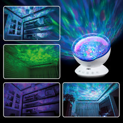 8 Color Ocean Wave Projector & Music Player & Remote