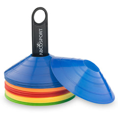 Disc Cone Set of 50 Flexible Multi Color (Red, Blue, Yellow, Green, Orange) Cones With Plastic Carrier