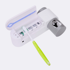 Toothbrush Holder and Automatic Dispenser- UV Light Sterilizer