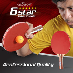 6 Star Ping Pong Paddle Set of 2 Table Tennis Rackets with 3 Orange Balls – Soft Sponge Rubber & 7-Ply Paddles – Professional Quality –Durable & Travel-Friendly
