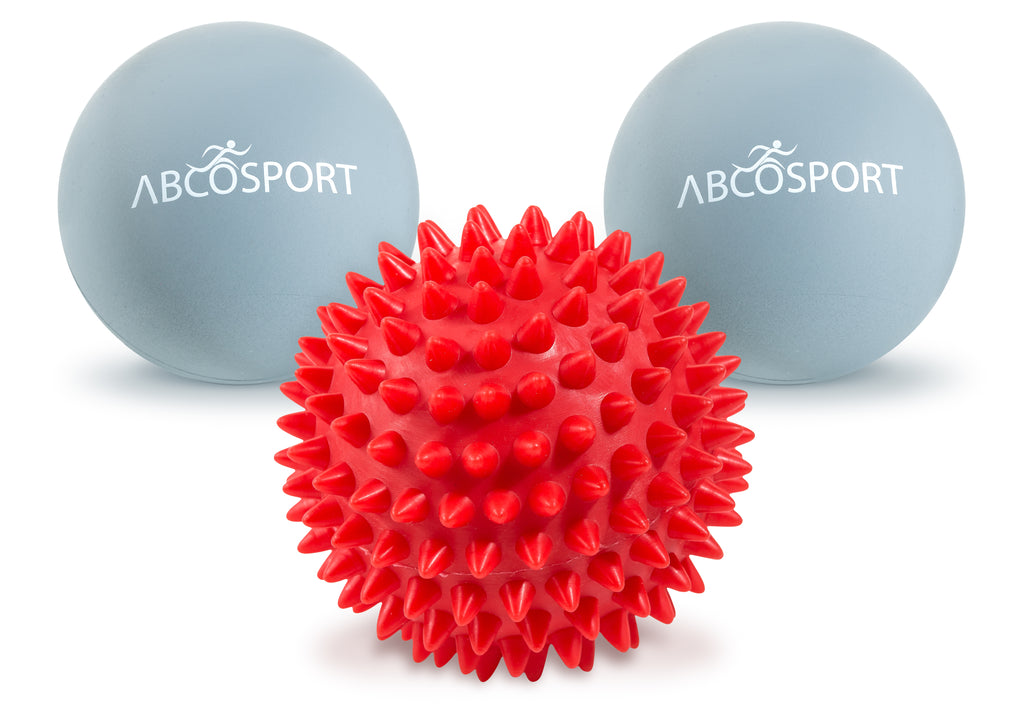 Massage Ball Set (2 Lacrosse & 1 Hard Spiky Combo) - Includes a FREE Carry Bag.