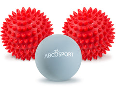 Massage Ball Set (2 Hard Spiky & 1 Lacrosse Combo) - Includes a FREE Carry Bag.