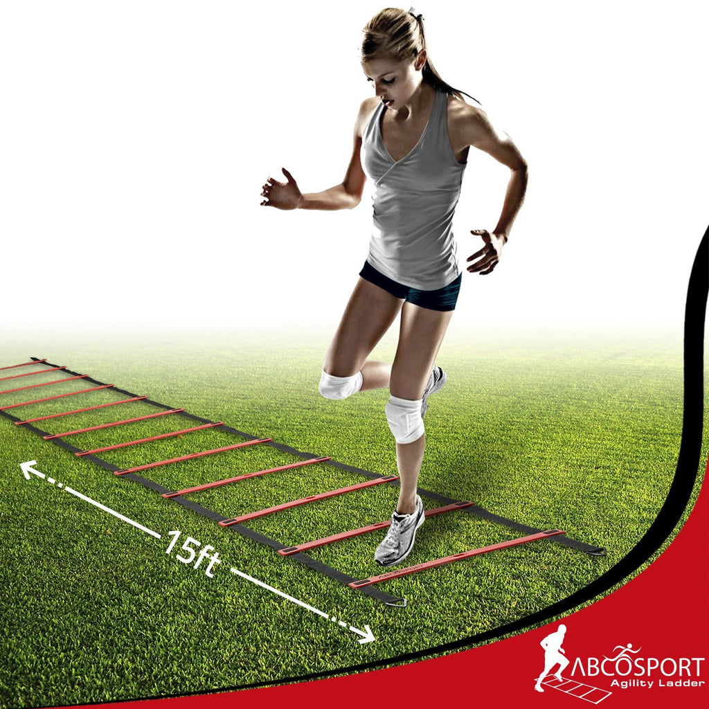 Speed Agility Ladder with 12 Adjustable Flat Rungs, 15ft Long
