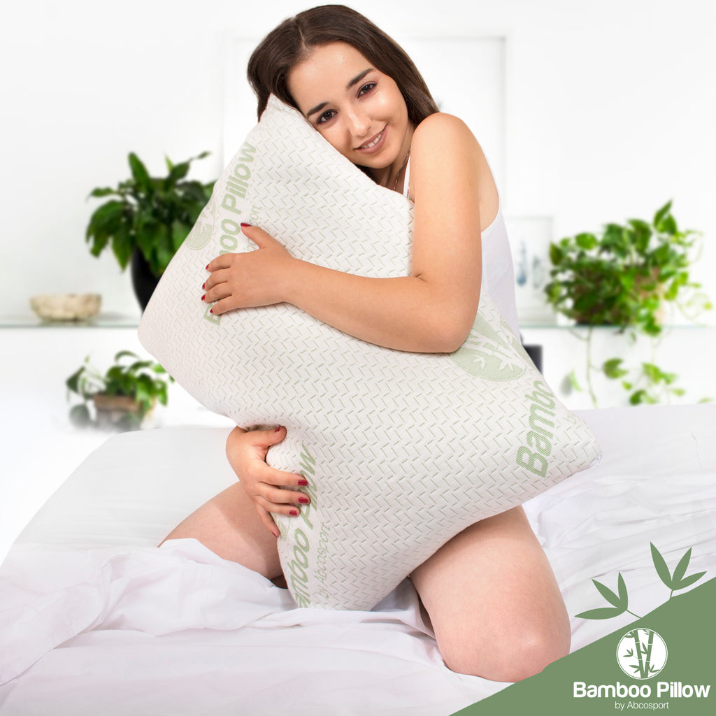 Abco Bamboo Pillows – Set of 2 – Memory Foam, Hypoallergenic - With Removable Cover