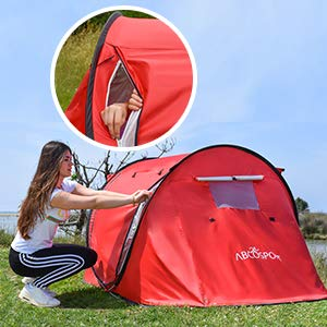 Pop-up Tent Instant Portable Cabana Beach Pop Up Tent For 2 Sky Red