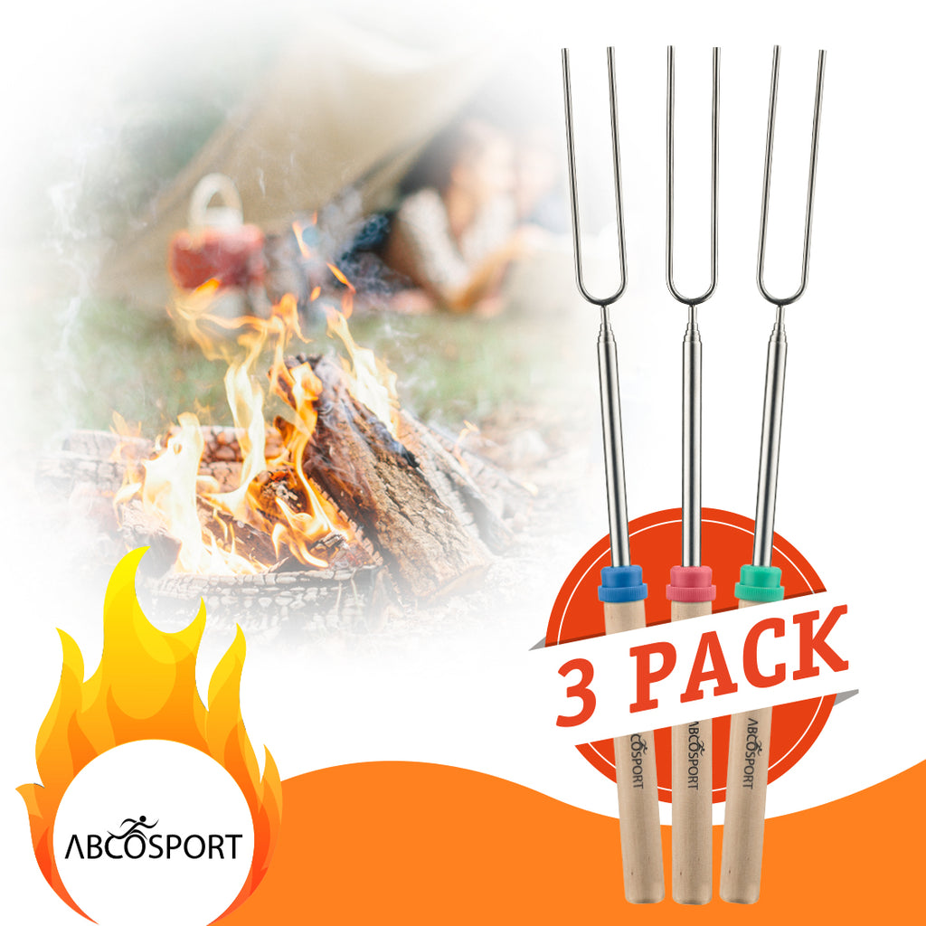"Marshmallow Roasting Sticks - Set of 3 Wooden Handle 32"" Telescoping Rotating Fork + 50 Bamboo Skewers"