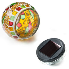 Solar Mosaic Glass Ball LED Light - Waterproof - Elegant For Party Decoration, Balcony or Table Lamp