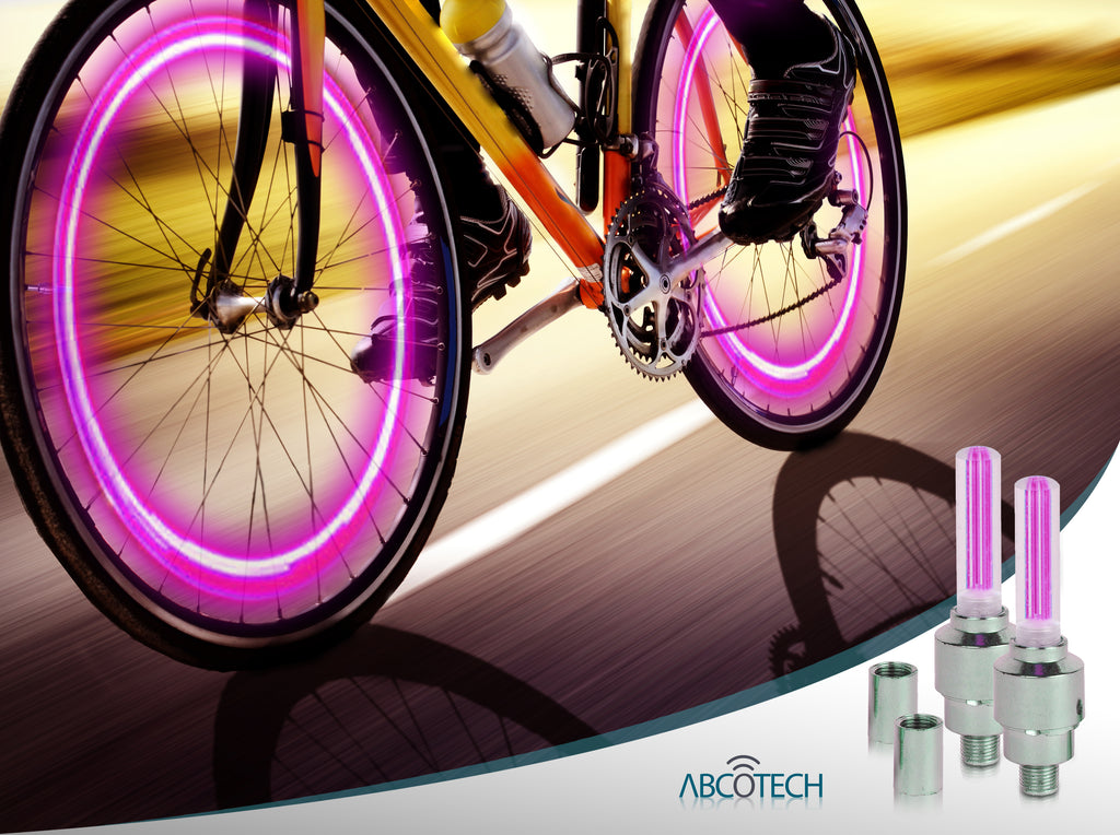 LED Bike Light Set - 2 Valve Wheel Lights and 2 Rear Lights