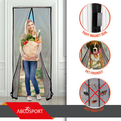 "Magnetic Screen Door - Fits Doors Up to 39"" x 83"" - Comes With Velcro or Pins"