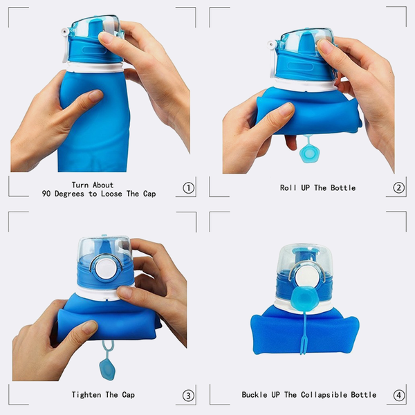 Collapsible Silicone Water Bottle, 100% BPA Free Folds for Running, Cycling, & Outdoor activities