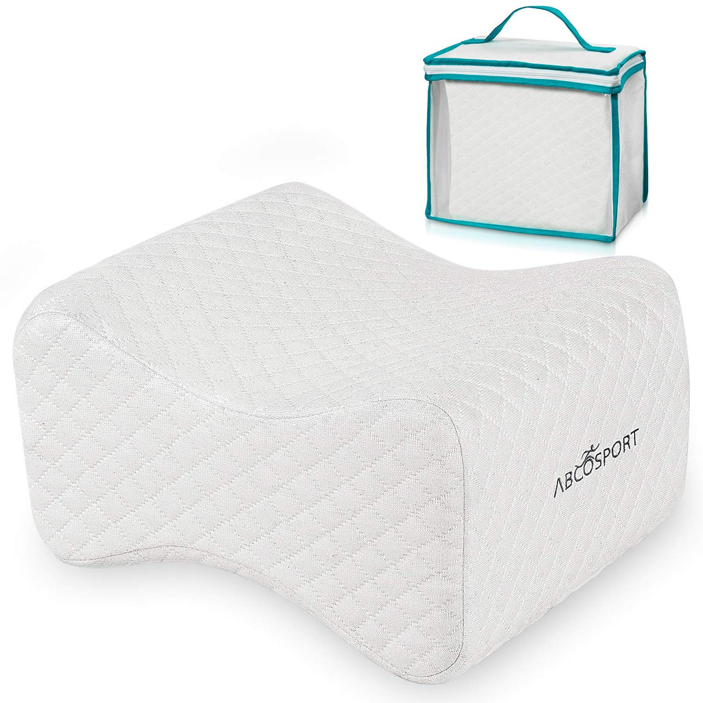 Memory Foam Knee Pillow with Washable Cover & Storage Bag