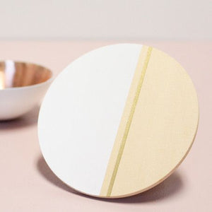 Hand-painted set of 4 Coasters that together make a geometric trivet for your modern table.