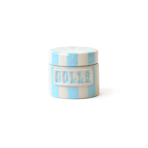 "Vice Canister- DOLLS- Blue and White 2"" x 2.25"""