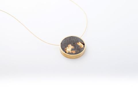 Concrete Brass Necklace- Circle- Medium- Gold
