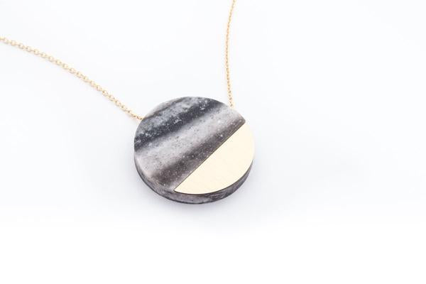 Corian Sector Necklace- Marble