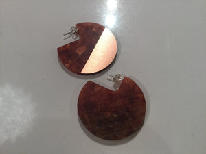 Corian Segment Earrings- Lava