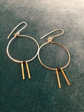 Earring Silver Loop with Tiny Brass Bars and Black Bead